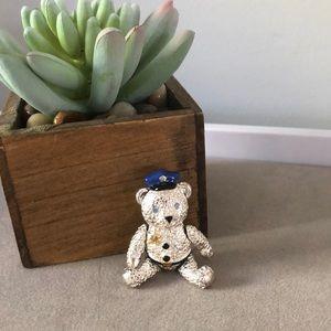 Napier Teddy Bear Silver Tone Police Officer Pin